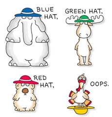 "From ""Blue Hat, Green Hat"", by Sandra Boynton. Mention of Red Hat"